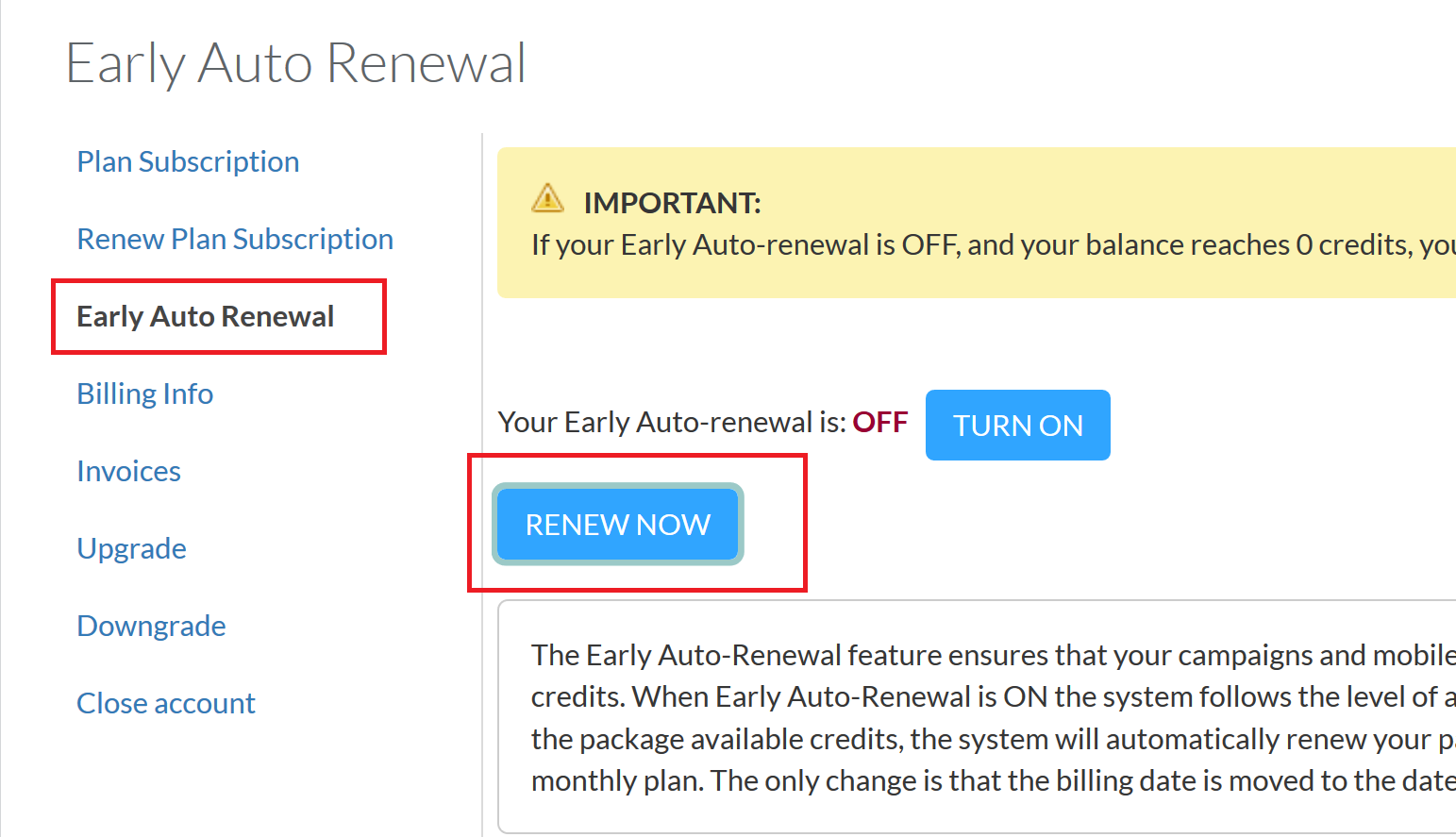 Messaging - account auto renewal